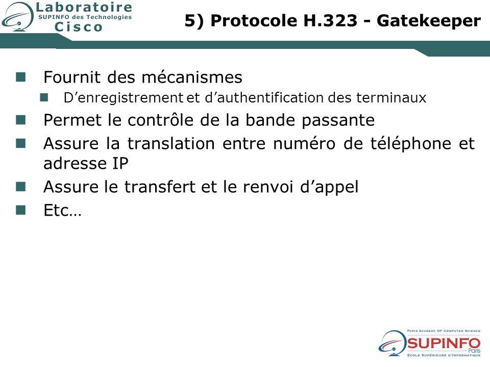 5) Protocole H.323 - Gatekeeper Fournit des mécanismes Denregistrement et dauthentification des terminaux Permet le contrôle de la bande passante Assu