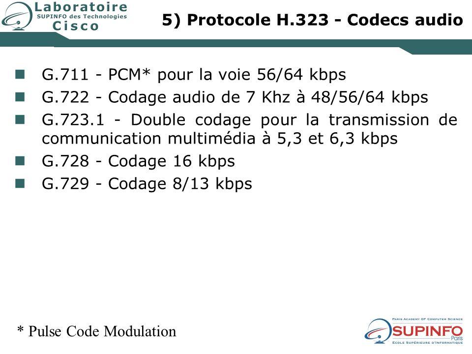 5) Protocole H.323 - Codecs audio G.711 - PCM* pour la voie 56/64 kbps G.722 - Codage audio de 7 Khz à 48/56/64 kbps G.723.1 - Double codage pour la t