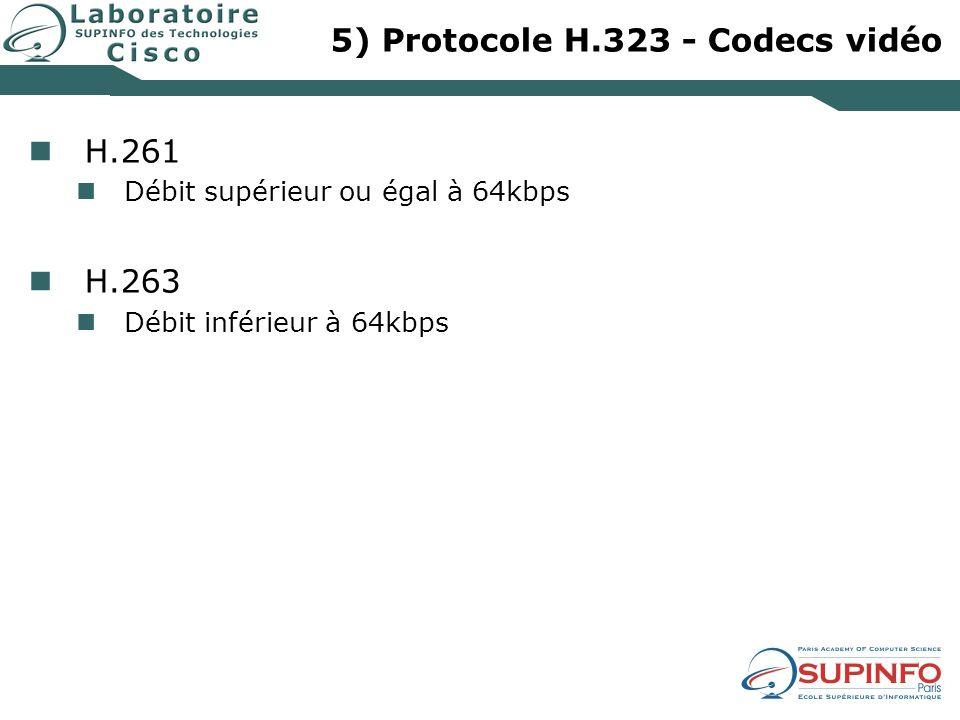 5) Protocole H.323 - Codecs vidéo H.261 Débit supérieur ou égal à 64kbps H.263 Débit inférieur à 64kbps
