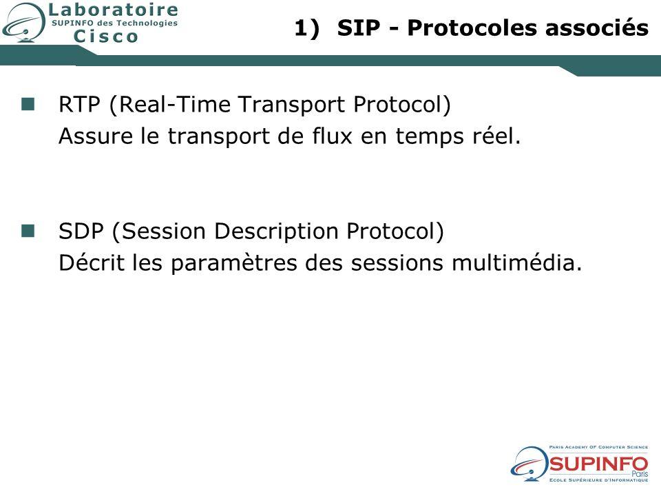 1)SIP - Protocoles associés RTP (Real-Time Transport Protocol) Assure le transport de flux en temps réel. SDP (Session Description Protocol) Décrit le