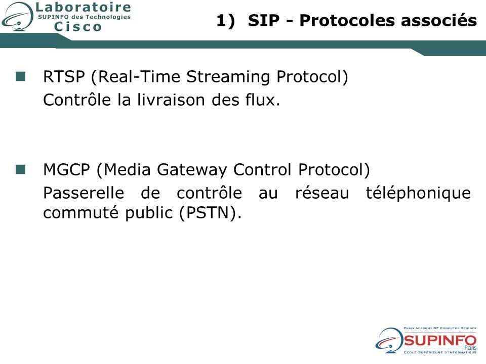 1)SIP - Protocoles associés RTSP (Real-Time Streaming Protocol) Contrôle la livraison des flux. MGCP (Media Gateway Control Protocol) Passerelle de co