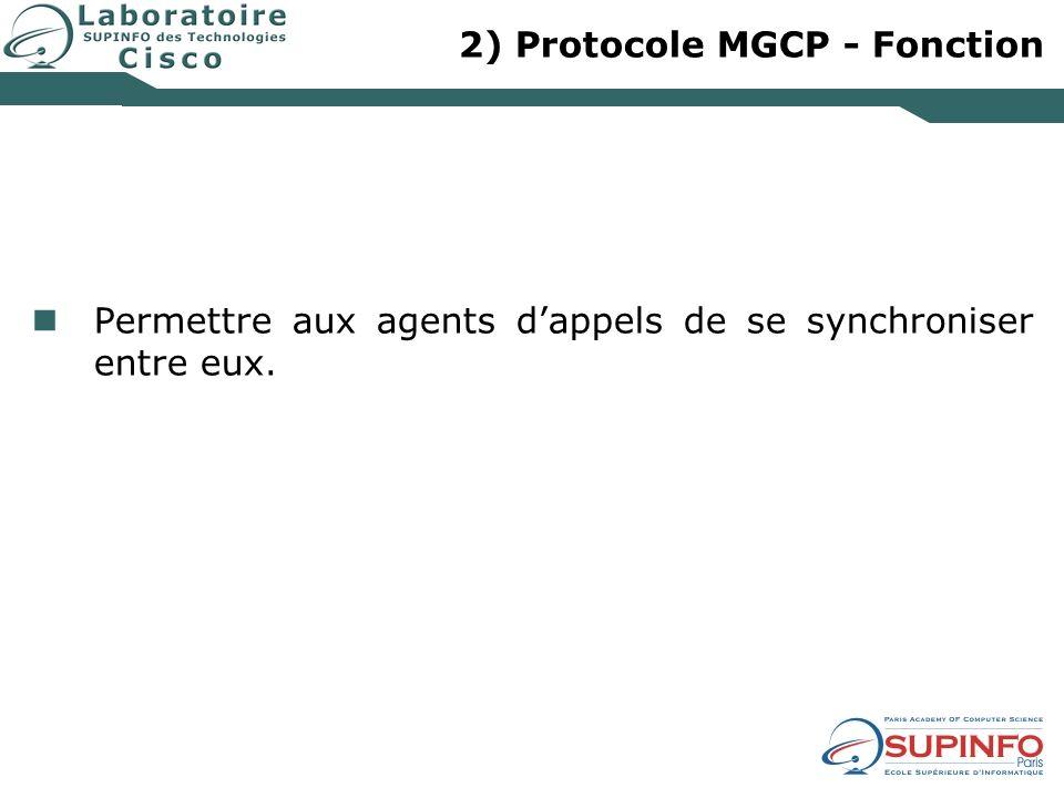 2) Protocole MGCP - Fonction Permettre aux agents dappels de se synchroniser entre eux.
