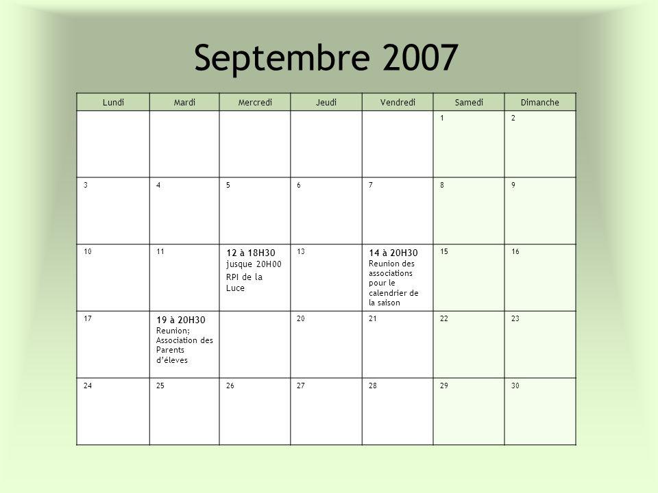 Septembre 2007 LundiMardiMercrediJeudiVendrediSamediDimanche 12 3456789 1011 12 à 18H30 jusque 20H00 RPI de la Luce 13 14 à 20H30 Reunion des associat