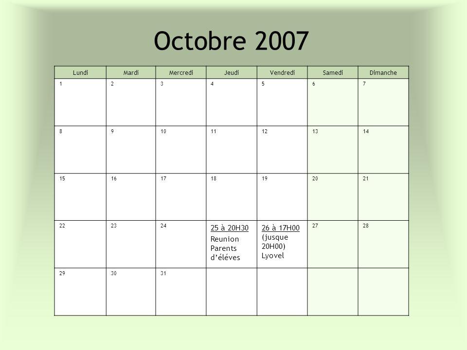 Octobre 2007 LundiMardiMercrediJeudiVendrediSamediDimanche 1234567 891011121314 15161718192021 222324 25 à 20H30 Reunion Parents déléves 26 à 17H00 (j
