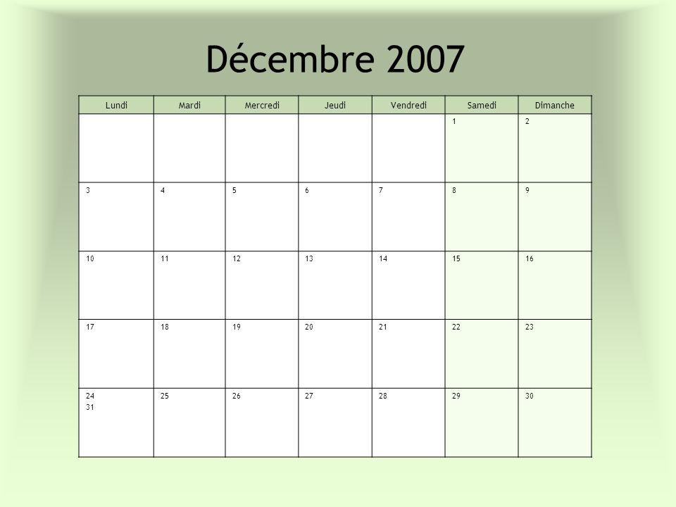 Décembre 2007 LundiMardiMercrediJeudiVendrediSamediDimanche 12 3456789 10111213141516 17181920212223 24 31 252627282930