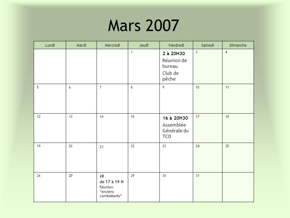 Mars 2007 LundiMardiMercrediJeudiVendrediSamediDimanche 1 2 à 20H30 Réunion de bureau Club de pêche 34 567891011 12131415 16 à 20H30 Assemblée Général