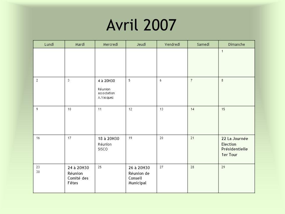 Avril 2007 LundiMardiMercrediJeudiVendrediSamediDimanche 1 23 4 à 20H30 Réunion association A.Vasquez 5678 9101112131415 1617 18 à 20H30 Réunion SISCO