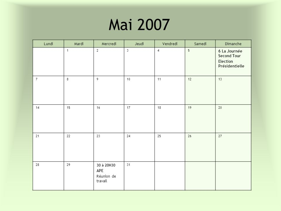Mai 2007 LundiMardiMercrediJeudiVendrediSamediDimanche 12345 6 La Journée Second Tour Election Présidentielle 78910111213 14151617181920 2122232425262