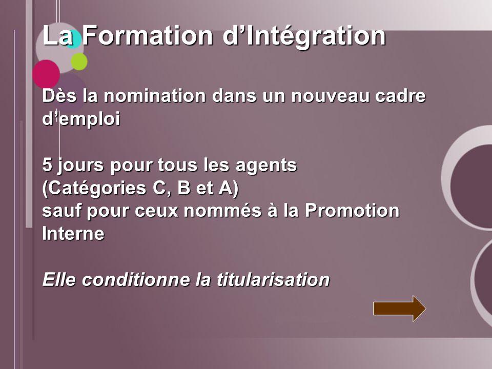 La Formation dIntégration Dès la nomination dans un nouveau cadre demploi 5 jours pour tous les agents (Catégories C, B et A) sauf pour ceux nommés à