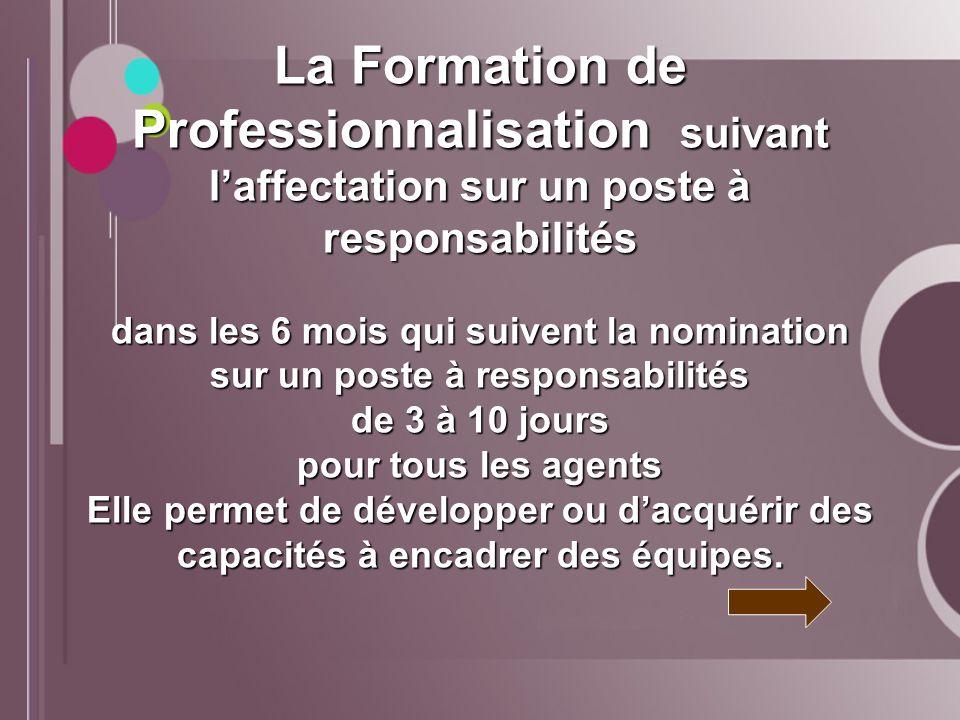 La Formation de Professionnalisation suivant laffectation sur un poste à responsabilités dans les 6 mois qui suivent la nomination sur un poste à resp