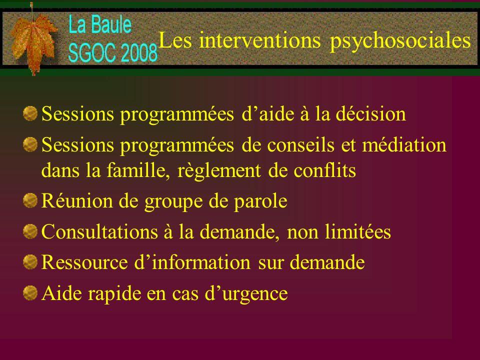 Les interventions psychosociales Sessions programmées daide à la décision Sessions programmées de conseils et médiation dans la famille, règlement de