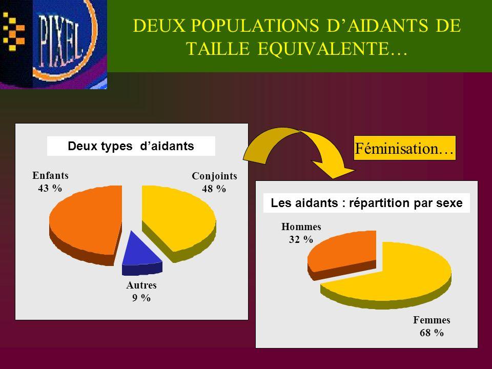 DEUX POPULATIONS DAIDANTS DE TAILLE EQUIVALENTE… Deux types daidants Enfants 43 % Conjoints 48 % Autres 9 % Hommes 32 % Femmes 68 % Les aidants : répa