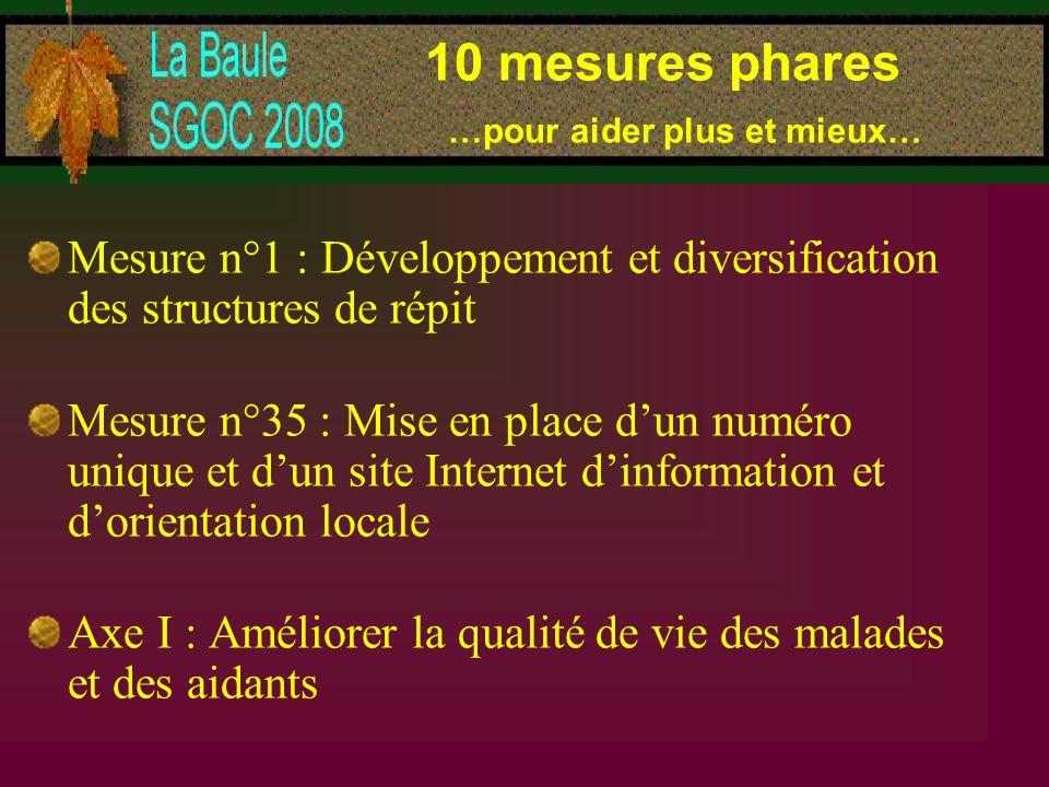10 mesures phares …pour aider plus et mieux… Mesure n°1 : Développement et diversification des structures de répit Mesure n°35 : Mise en place dun num