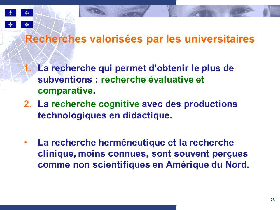 28 Recherches valorisées par les universitaires 1.La recherche qui permet dobtenir le plus de subventions : recherche évaluative et comparative.