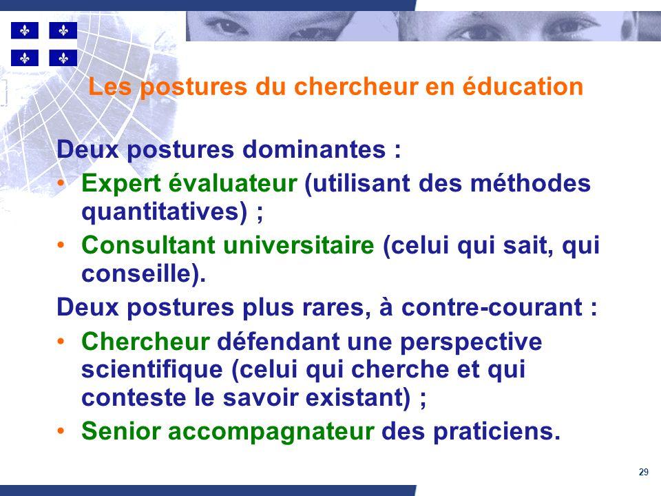 29 Les postures du chercheur en éducation Deux postures dominantes : Expert évaluateur (utilisant des méthodes quantitatives) ; Consultant universitaire (celui qui sait, qui conseille).
