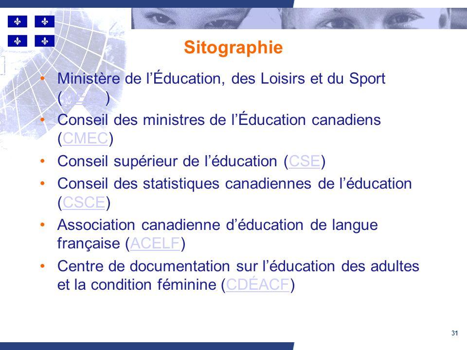 31 Sitographie Ministère de lÉducation, des Loisirs et du Sport (MELS)MELS Conseil des ministres de lÉducation canadiens (CMEC)CMEC Conseil supérieur de léducation (CSE)CSE Conseil des statistiques canadiennes de léducation (CSCE)CSCE Association canadienne déducation de langue française (ACELF)ACELF Centre de documentation sur léducation des adultes et la condition féminine (CDÉACF)CDÉACF