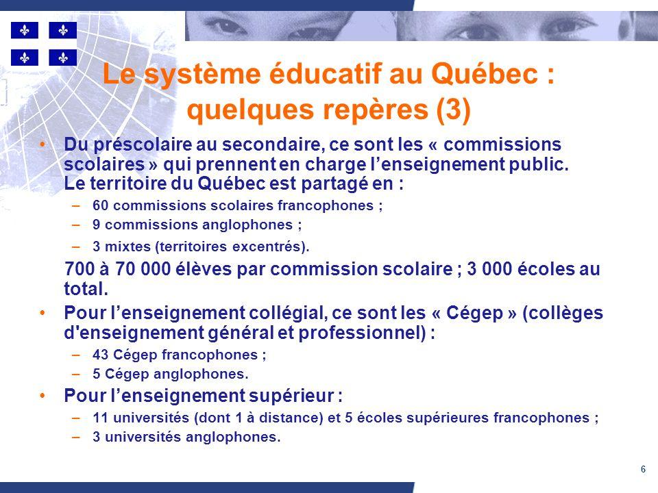 6 Le système éducatif au Québec : quelques repères (3) Du préscolaire au secondaire, ce sont les « commissions scolaires » qui prennent en charge lenseignement public.