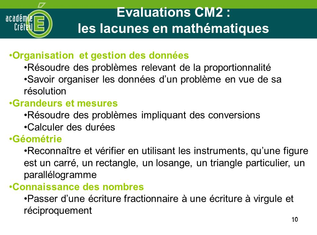 10 Evaluations CM2 : les lacunes en mathématiques 10 Organisation et gestion des données Résoudre des problèmes relevant de la proportionnalité Savoir