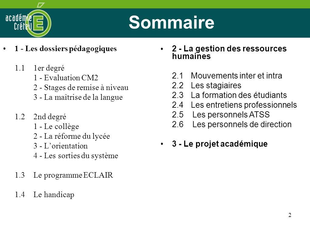 2 Sommaire 1 - Les dossiers pédagogiques 1.1 1er degré 1 - Evaluation CM2 2 - Stages de remise à niveau 3 - La maîtrise de la langue 1.22nd degré 1 -