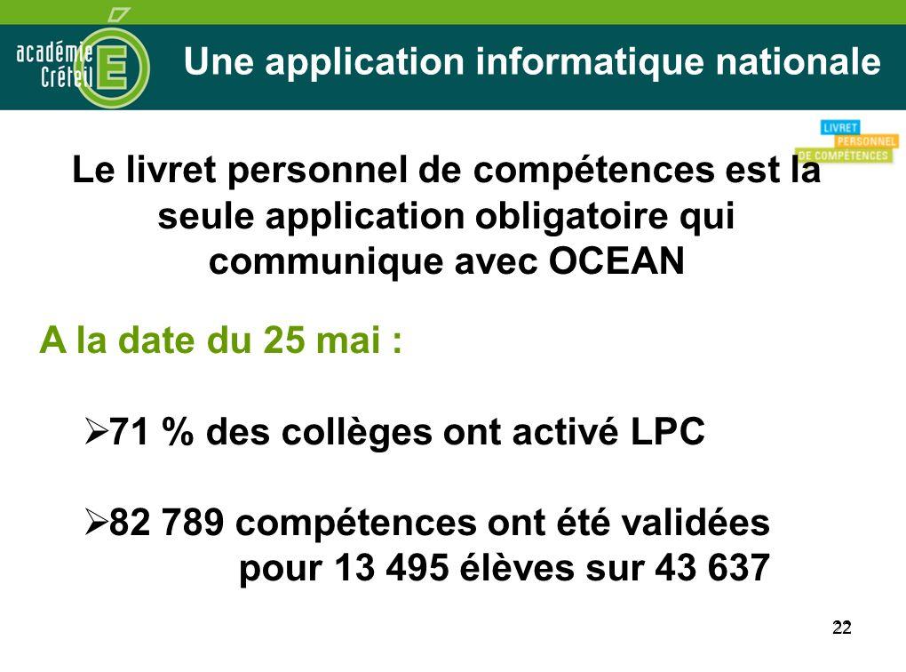 22 Une application informatique nationale Le livret personnel de compétences est la seule application obligatoire qui communique avec OCEAN A la date