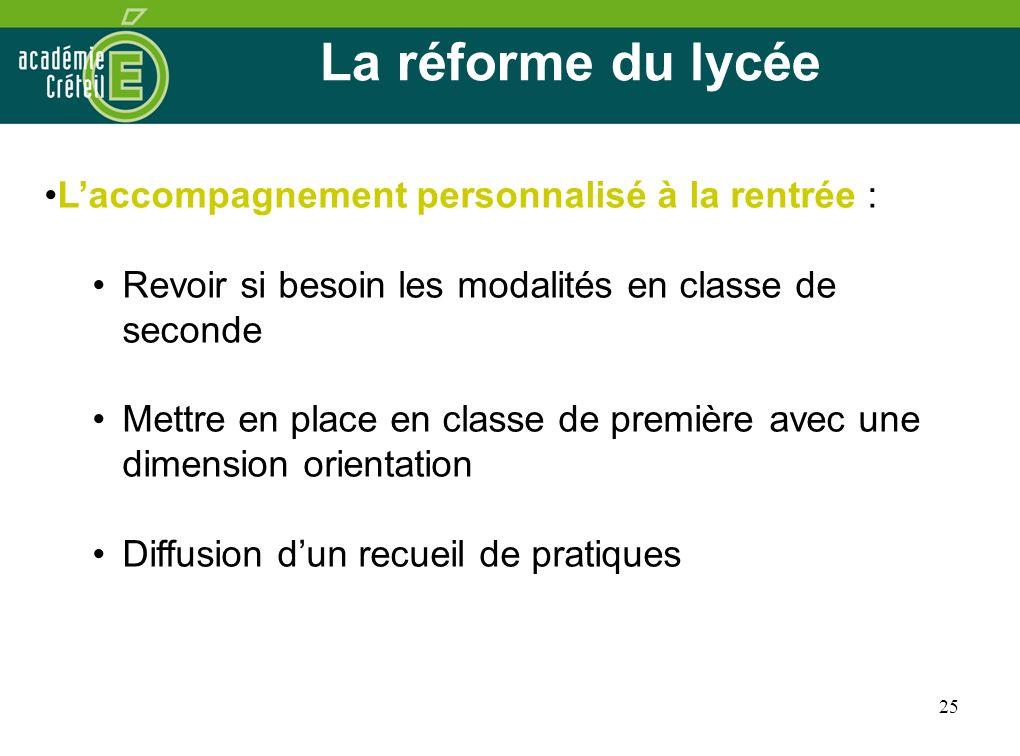 25 La réforme du lycée Laccompagnement personnalisé à la rentrée : Revoir si besoin les modalités en classe de seconde Mettre en place en classe de pr