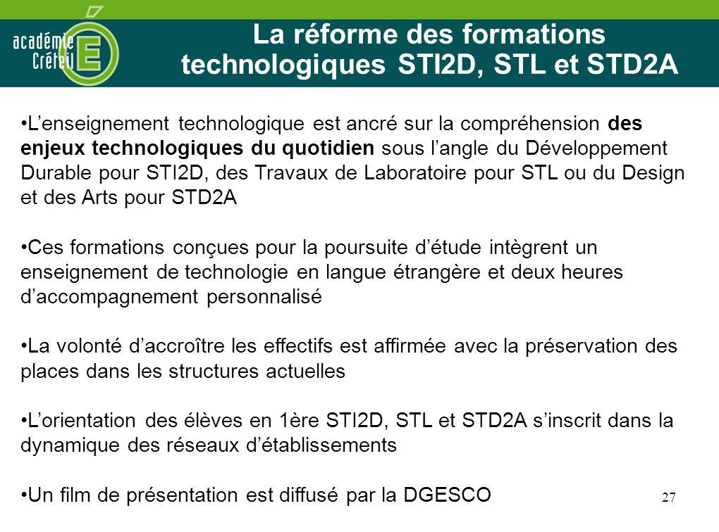 27 La réforme des formations technologiques STI2D, STL et STD2A Lenseignement technologique est ancré sur la compréhension des enjeux technologiques d