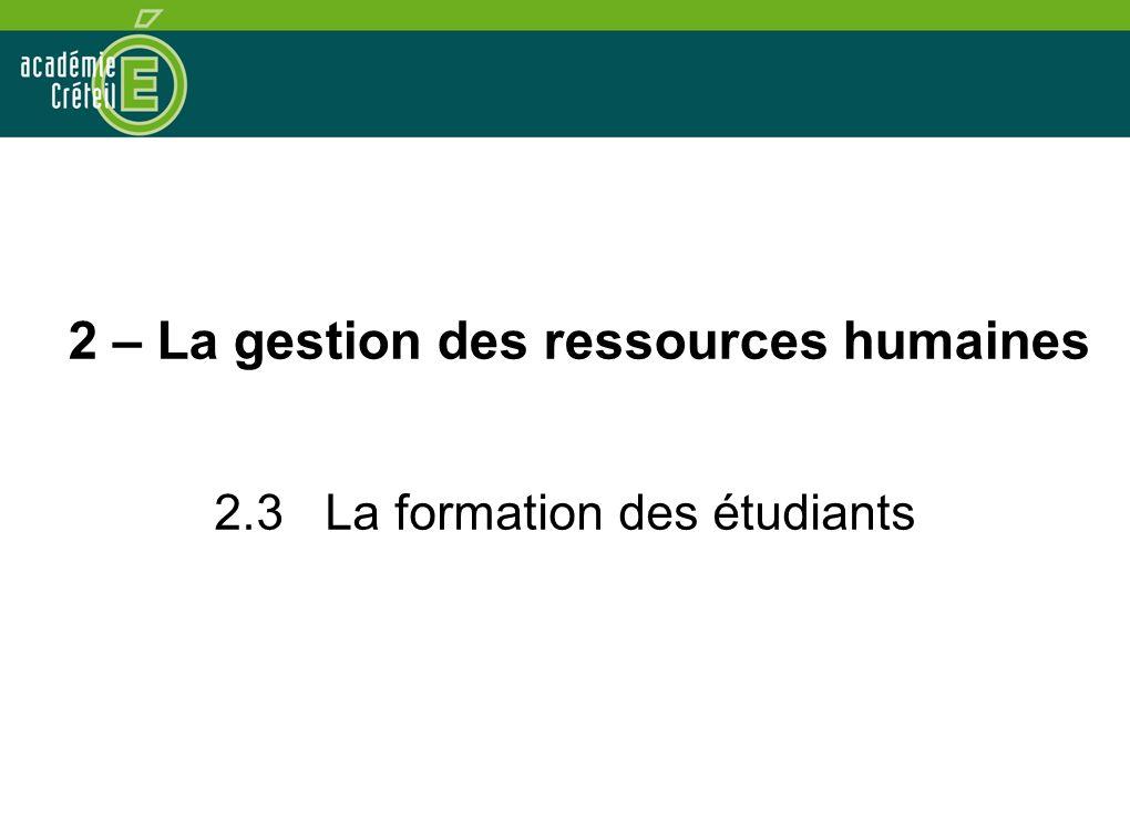 2 – La gestion des ressources humaines 2.3 La formation des étudiants
