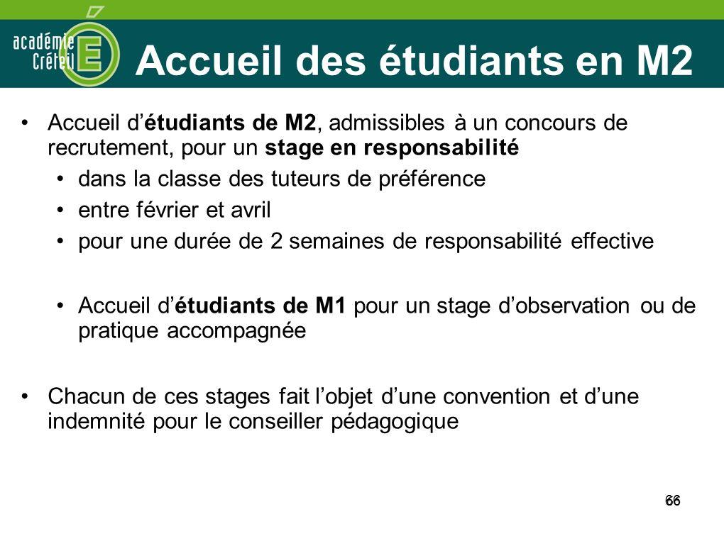 66 Accueil des étudiants en M2 Accueil détudiants de M2, admissibles à un concours de recrutement, pour un stage en responsabilité dans la classe des