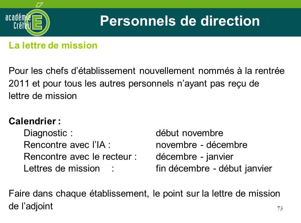 73 Personnels de direction La lettre de mission Pour les chefs détablissement nouvellement nommés à la rentrée 2011 et pour tous les autres personnels