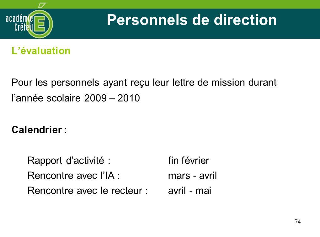 74 Personnels de direction Lévaluation Pour les personnels ayant reçu leur lettre de mission durant lannée scolaire 2009 – 2010 Calendrier : Rapport d