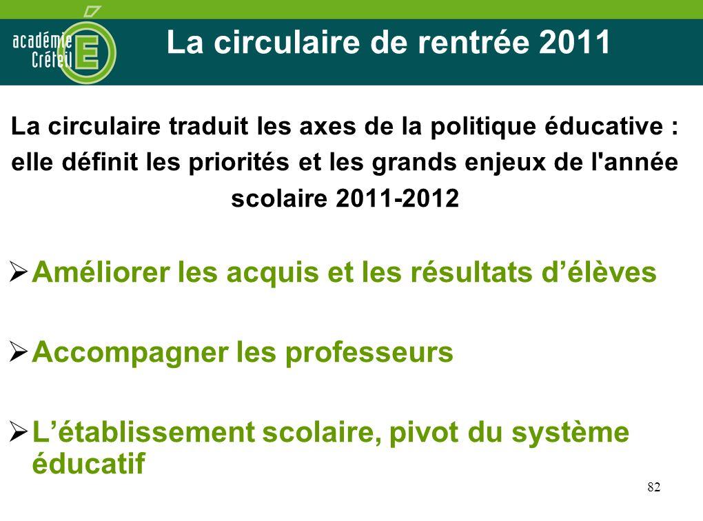 82 La circulaire de rentrée 2011 La circulaire traduit les axes de la politique éducative : elle définit les priorités et les grands enjeux de l'année