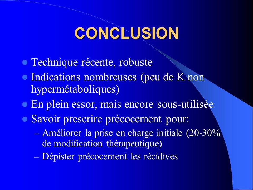 CONCLUSION Technique récente, robuste Indications nombreuses (peu de K non hypermétaboliques) En plein essor, mais encore sous-utilisée Savoir prescri