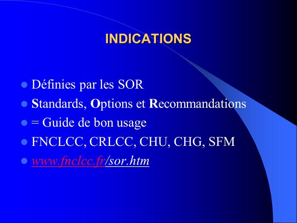 INDICATIONS Définies par les SOR Standards, Options et Recommandations = Guide de bon usage FNCLCC, CRLCC, CHU, CHG, SFM www.fnclcc.fr/sor.htm www.fnc