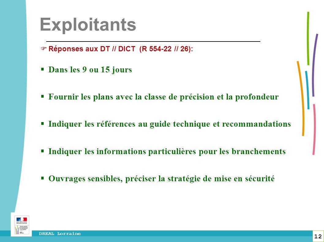 12 DREAL Lorraine Exploitants Réponses aux DT // DICT (R 554-22 // 26): Dans les 9 ou 15 jours Fournir les plans avec la classe de précision et la pro
