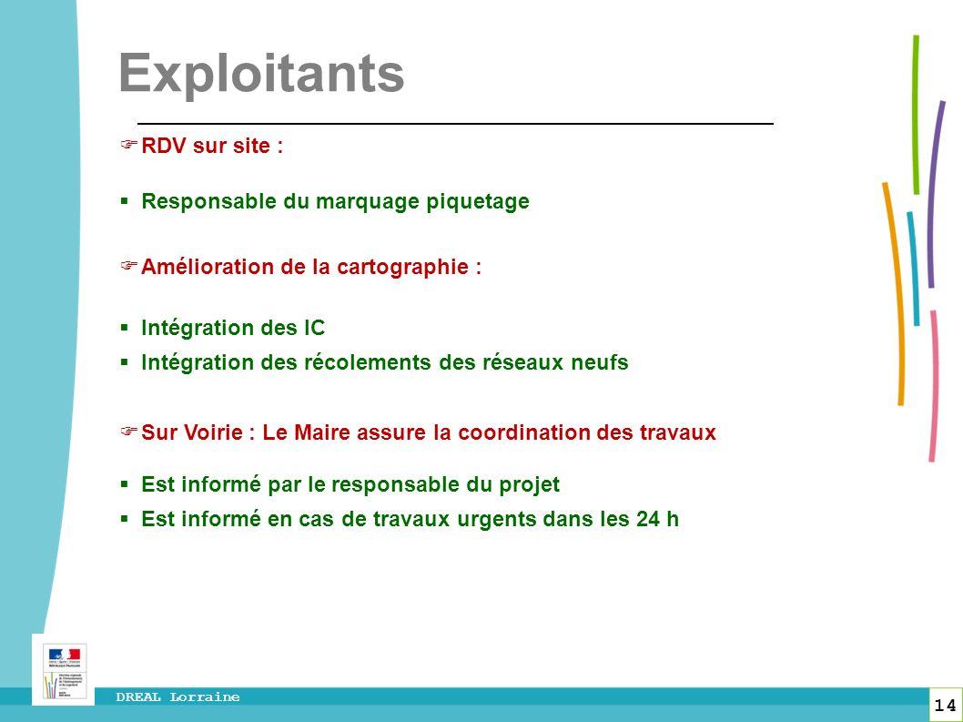 14 DREAL Lorraine Exploitants RDV sur site : Responsable du marquage piquetage Amélioration de la cartographie : Intégration des IC Intégration des ré