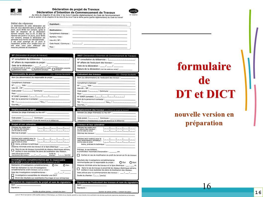 16 DREAL Lorraine 16 16 formulaire de DT et DICT nouvelle version en préparation