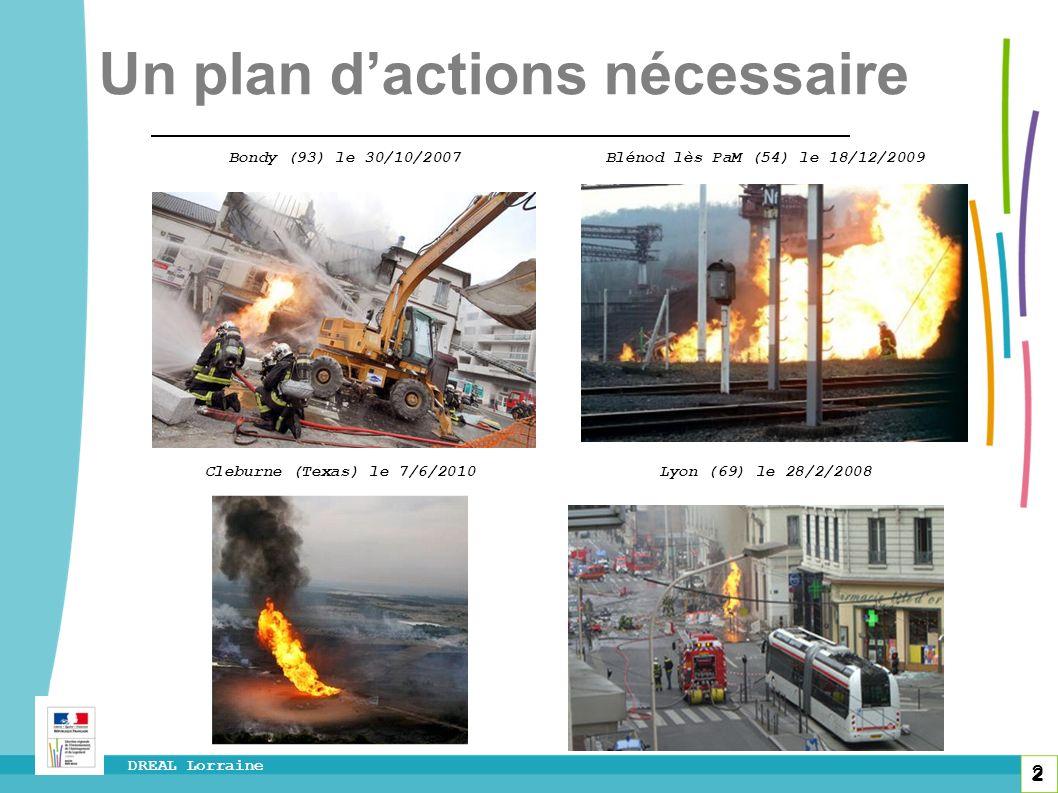 2 DREAL Lorraine 2 Bondy (93) le 30/10/2007 Blénod lès PaM (54) le 18/12/2009 Cleburne (Texas) le 7/6/2010 Lyon (69) le 28/2/2008 Un plan dactions néc