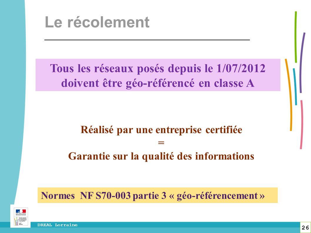 26 DREAL Lorraine Tous les réseaux posés depuis le 1/07/2012 doivent être géo-référencé en classe A Réalisé par une entreprise certifiée = Garantie su