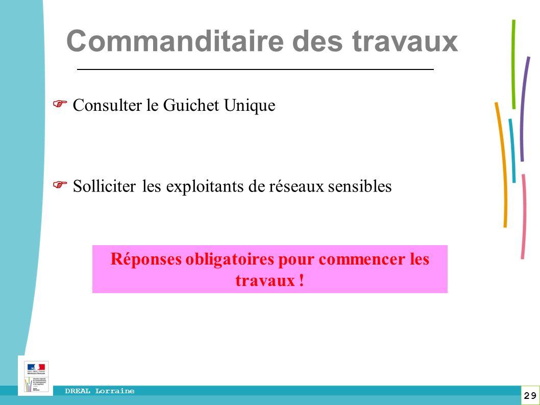 29 DREAL Lorraine Consulter le Guichet Unique Solliciter les exploitants de réseaux sensibles Réponses obligatoires pour commencer les travaux ! Comma