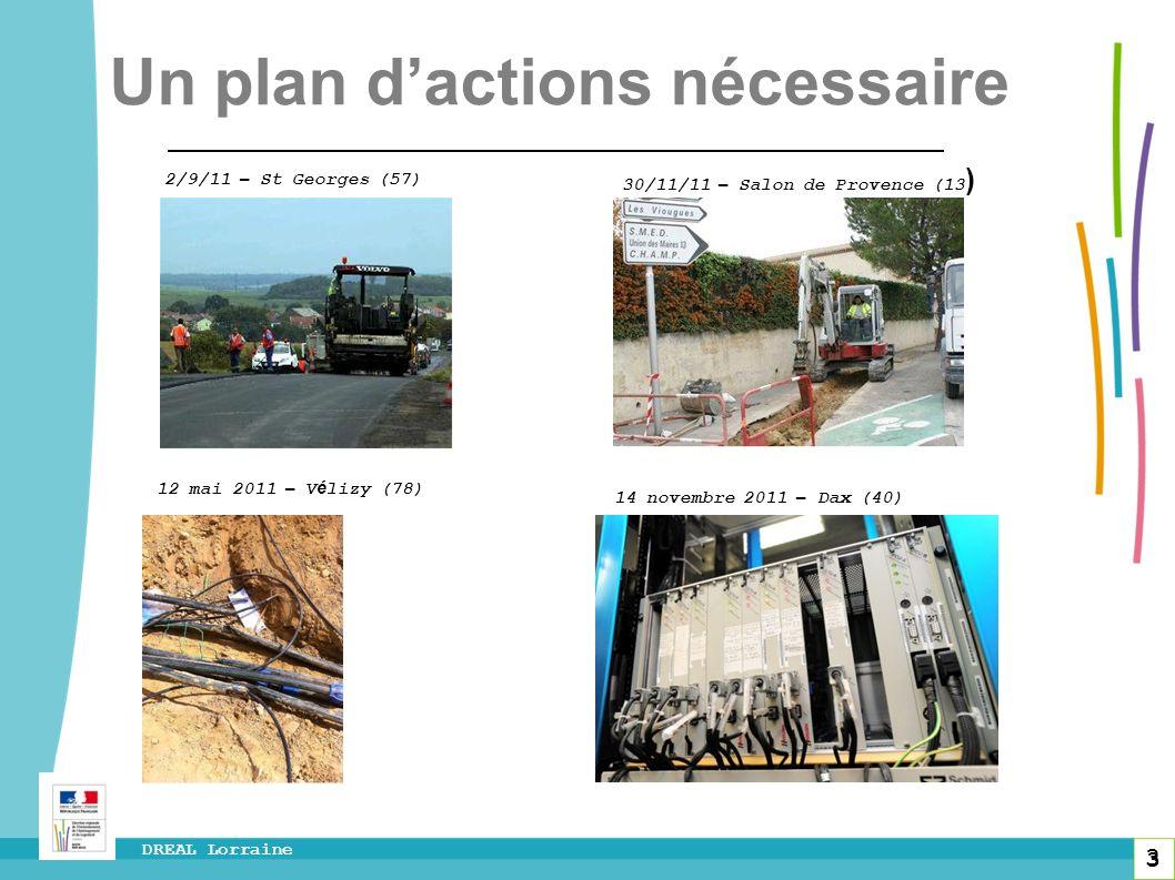 3 DREAL Lorraine 3 2/9/11 – St Georges (57) 30/11/11 – Salon de Provence (13 ) Un plan dactions nécessaire 12 mai 2011 – V é lizy (78) 14 novembre 201