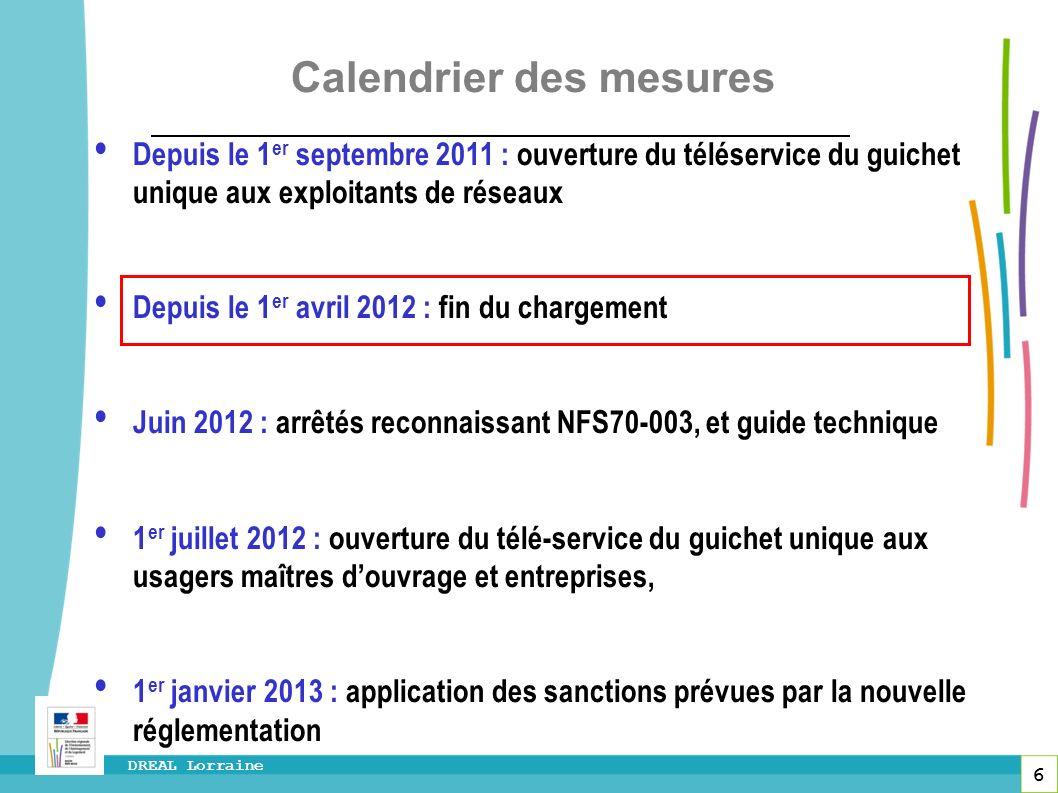 6 DREAL Lorraine Calendrier des mesures Depuis le 1 er septembre 2011 : ouverture du téléservice du guichet unique aux exploitants de réseaux Depuis l