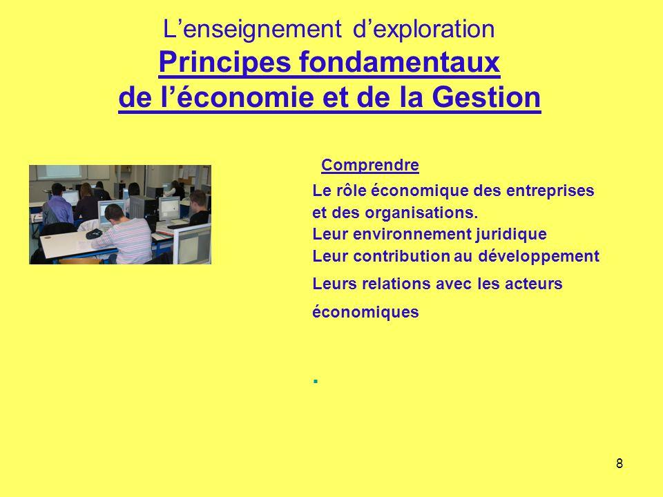 8 Lenseignement dexploration Principes fondamentaux de léconomie et de la Gestion Comprendre Le rôle économique des entreprises et des organisations.