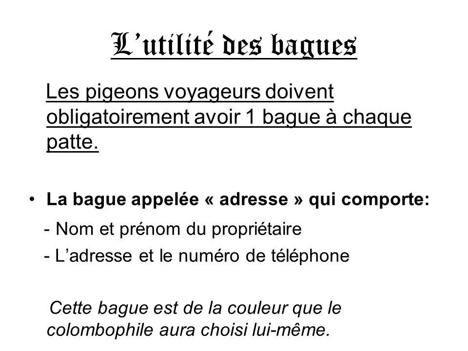 Lutilité des bagues Les pigeons voyageurs doivent obligatoirement avoir 1 bague à chaque patte. La bague appelée « adresse » qui comporte: - Nom et pr