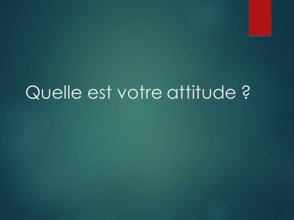Quelle est votre attitude ?