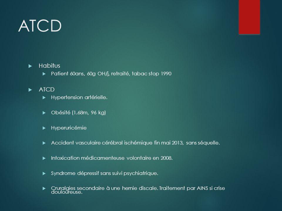 ATCD Habitus Patient 60ans, 60g OH/j, retraité, tabac stop 1990 ATCD Hypertension artérielle. Obésité (1.68m, 96 kg) Hyperuricémie Accident vasculaire