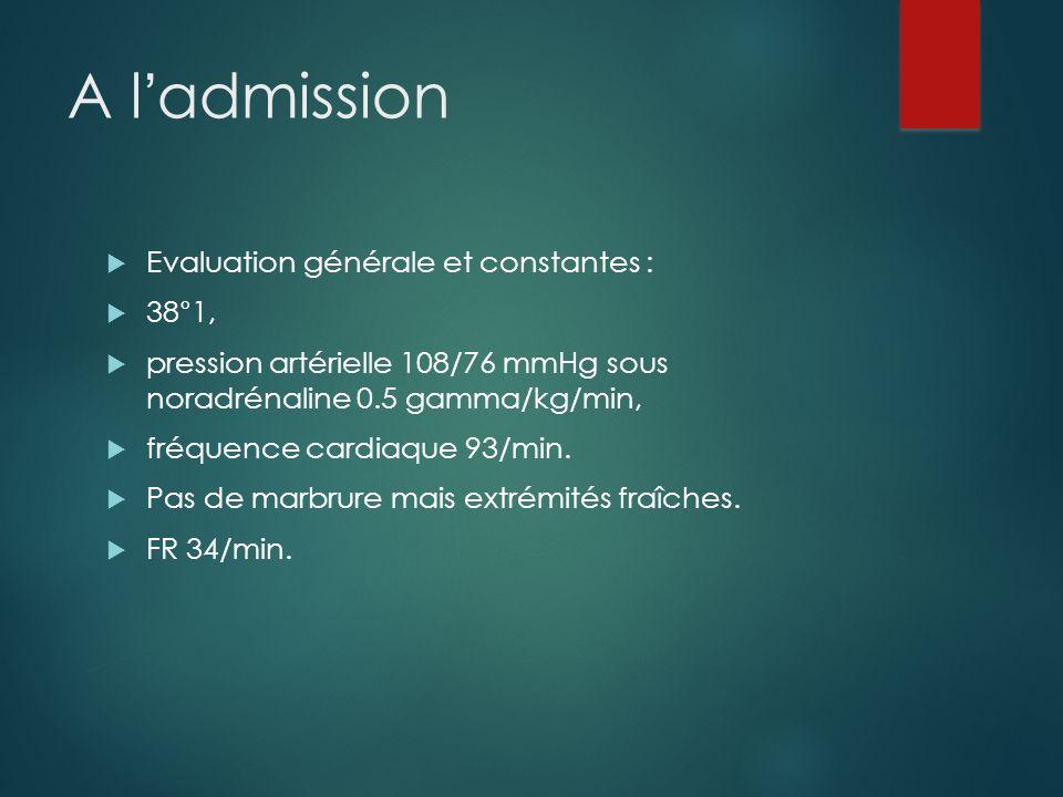 A ladmission Evaluation générale et constantes : 38°1, pression artérielle 108/76 mmHg sous noradrénaline 0.5 gamma/kg/min, fréquence cardiaque 93/min