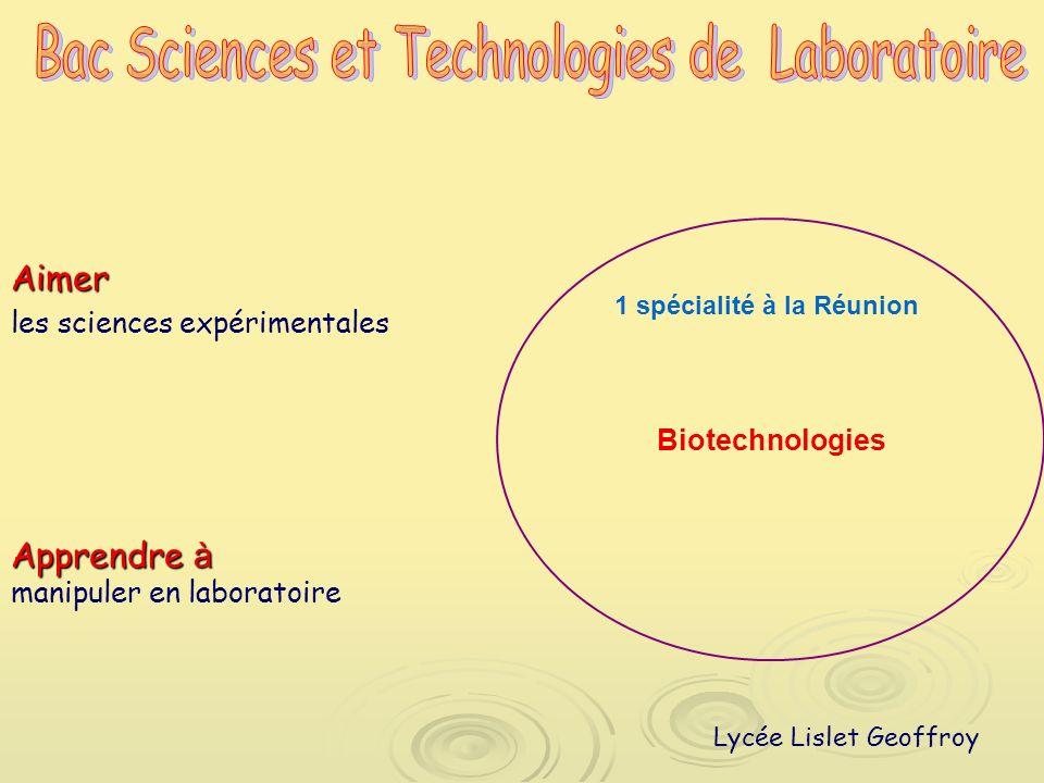 Aimer les sciences expérimentales Biotechnologies 1 spécialité à la Réunion Apprendre à manipuler en laboratoire Lycée Lislet Geoffroy