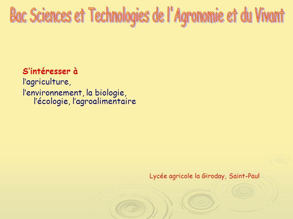 Sintéresser à lagriculture, lenvironnement, la biologie, lécologie, lagroalimentaire Lycée agricole la Giroday, Saint-Paul