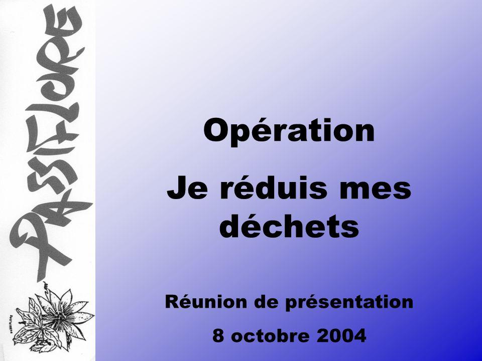 Opération Je réduis mes déchets Réunion de présentation 8 octobre 2004