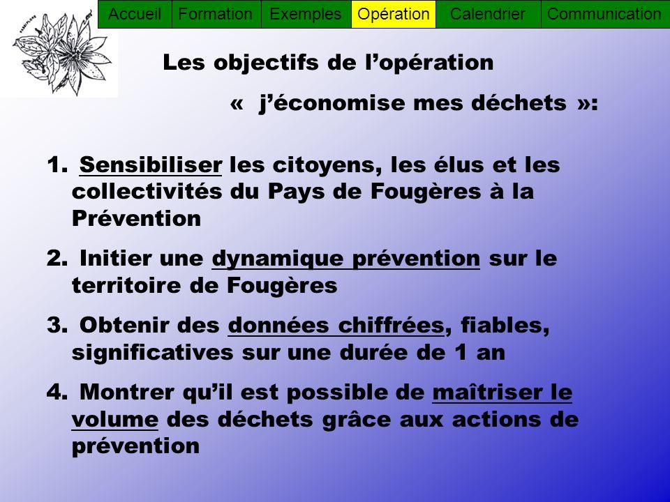 1. Sensibiliser les citoyens, les élus et les collectivités du Pays de Fougères à la Prévention 2. Initier une dynamique prévention sur le territoire